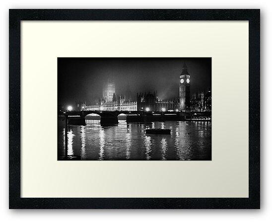 Westminster Palace, A Foggy Winter Night, London, UK by aldogallery