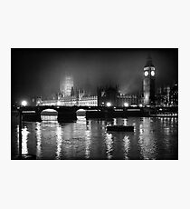Westminster Palace, A Foggy Winter Night, London, UK Photographic Print
