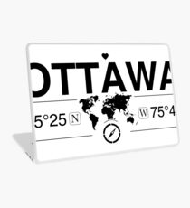 Ottawa Ontario with World Map Coordinates GPS    Laptop Skin