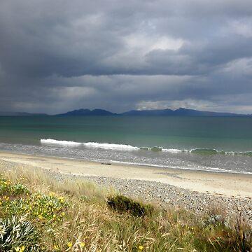 Rainstorm over Great Oyster Bay, Tasmania, Australia. by kaysharp