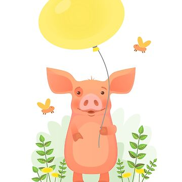 Cute pig holding balloon by OllegNik