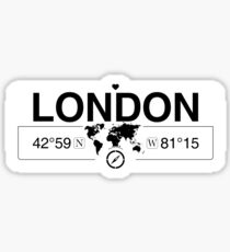 London Ontario with World Map Coordinates GPS    Sticker