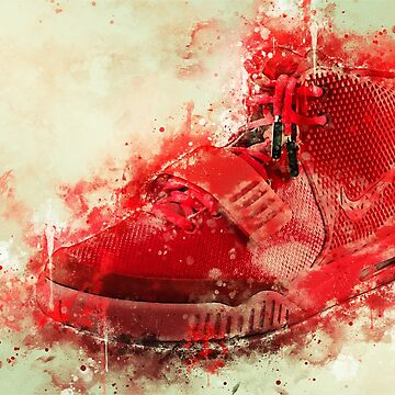 Yeezy 2 Red October Watercolor Splash by CryptoTextile