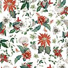 Festive Red Green Botanical Poinsettia Cactus Floral Pattern by tanjica