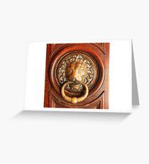 An Elegant Lion Door Knocker in Arles Greeting Card