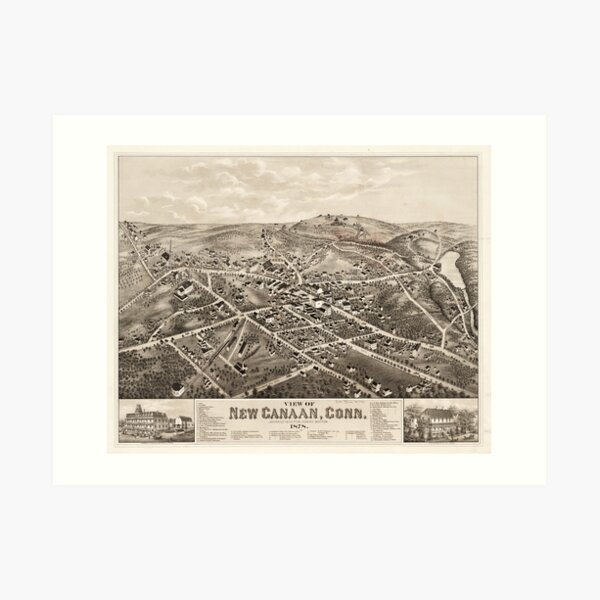 Vintage Pictorial Map of New Canaan CT (1878) Art Print
