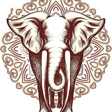 Elephant on Mandala background by devaleta