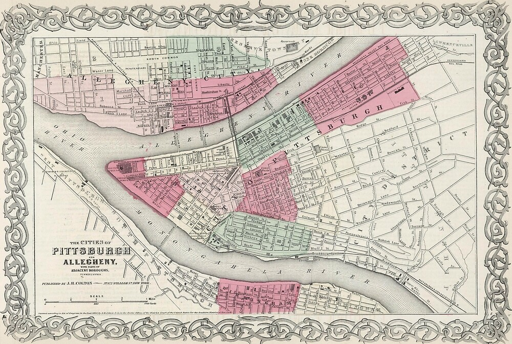 Vintage Map of Pittsburgh PA (1865)\