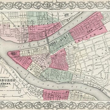 Vintage Map of Pittsburgh PA (1865) by BravuraMedia