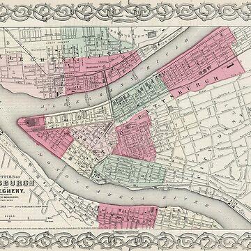 Vintage Map of Pittsburgh PA (1865) by BravuraMedia