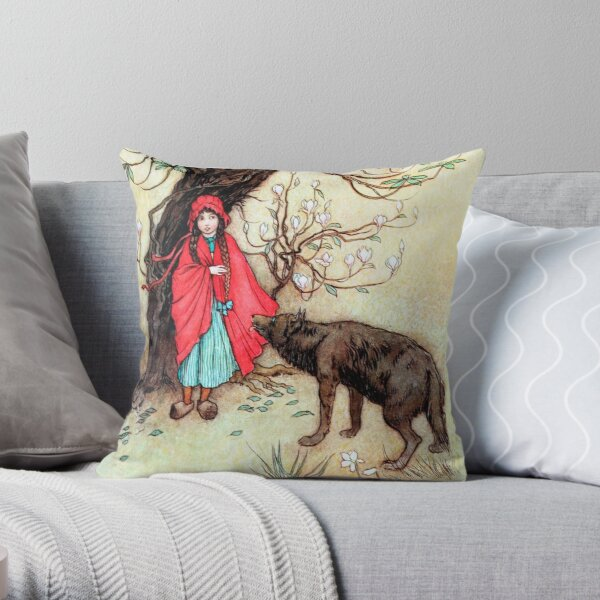 Little Red Riding Hood - Warwick Goble Throw Pillow