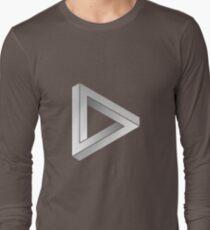 Penrose-Triangle White Long Sleeve T-Shirt
