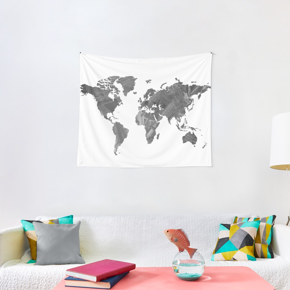 MAP-B&W Freedom vibes worldwide Tapestry