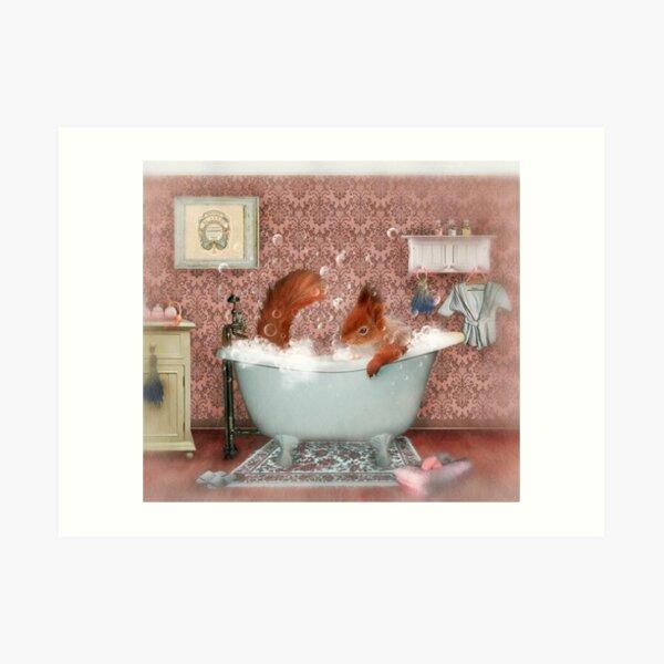 Miss Suzy Takes a Bath Art Print