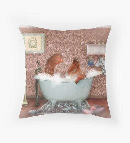 Miss Suzy Takes a Bath Throw Pillow