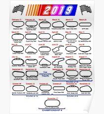 Spielplan Nascar Cup Series 2019 weiß Poster