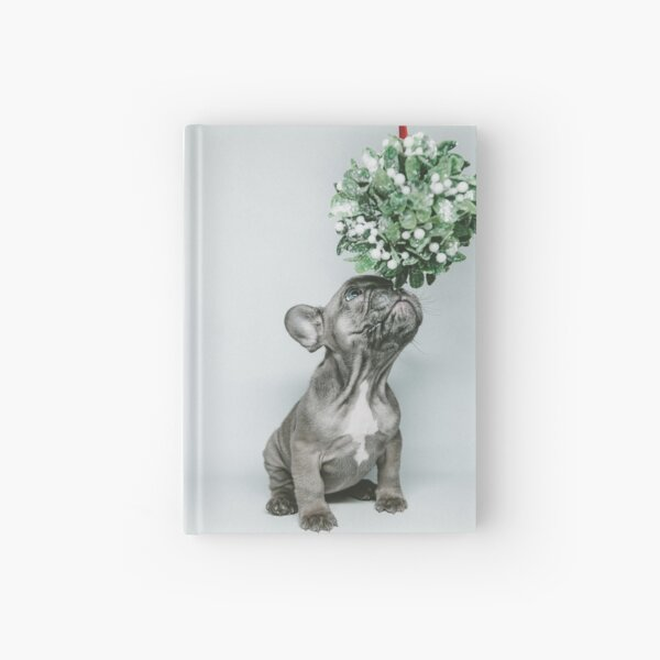 festive french bulldog puppy Hardcover Journal