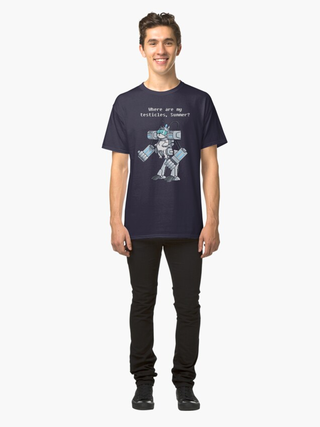 Alternate view of Where Are My Testicles - Mecha Snuffles - Rick and Morty Classic T-Shirt