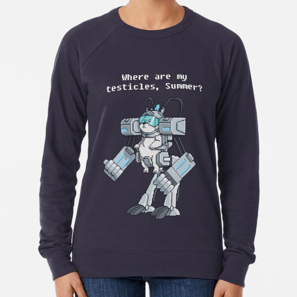 Where Are My Testicles - Mecha Snuffles - Rick and Morty Lightweight Sweatshirt