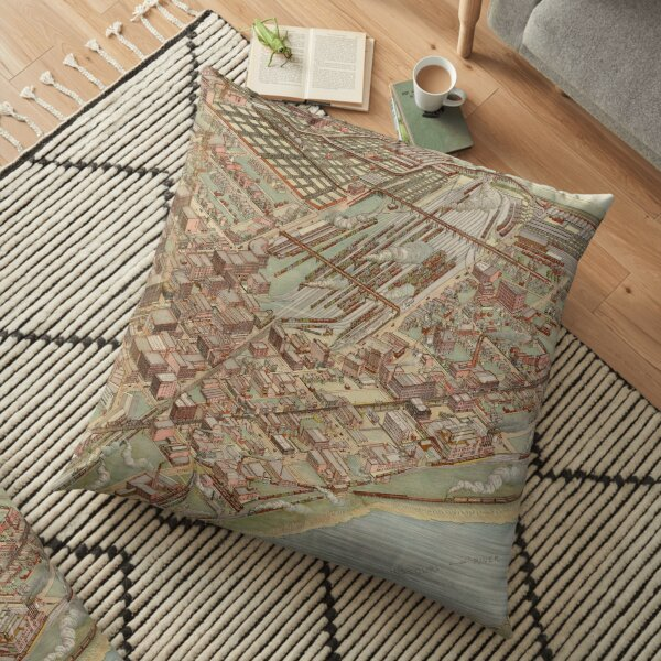 Vintage Pictorial Map of Kansas City MO (1895) Floor Pillow