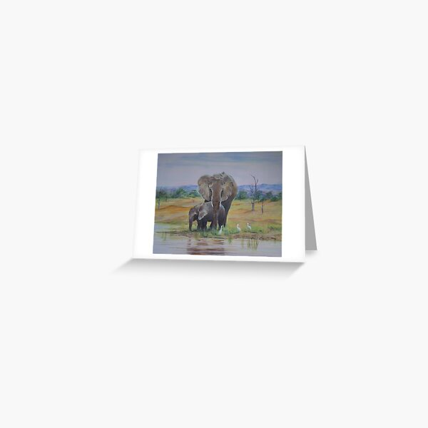 'Can I come under your trunk mum?' Greeting Card