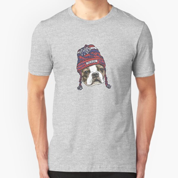 Boston Sports Terrier Red Beanie Slim Fit T-Shirt