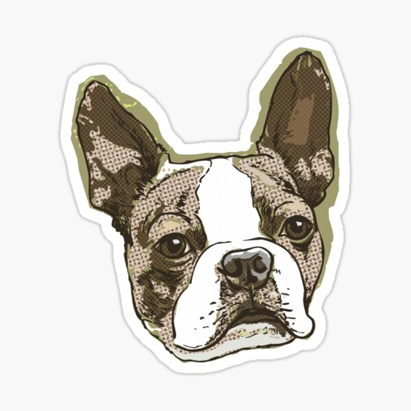 Boston Terrier Dog Head Sticker