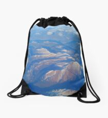 Mountains from the window seat Drawstring Bag