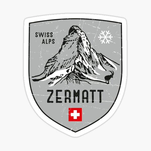 Zermatt Mountain Switzerland Emblem  Sticker