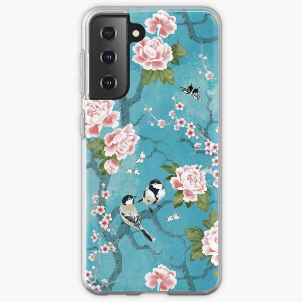 Chinoiserie birds in turquoise blue Samsung Galaxy Soft Case
