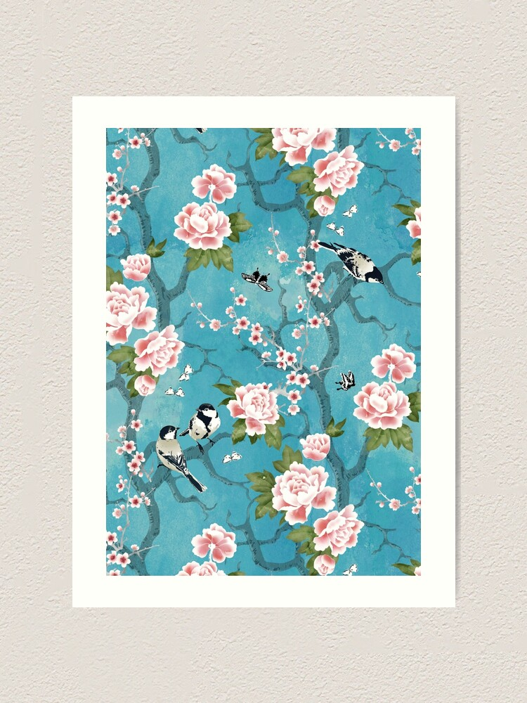 Alternate view of Chinoiserie birds in turquoise blue Art Print