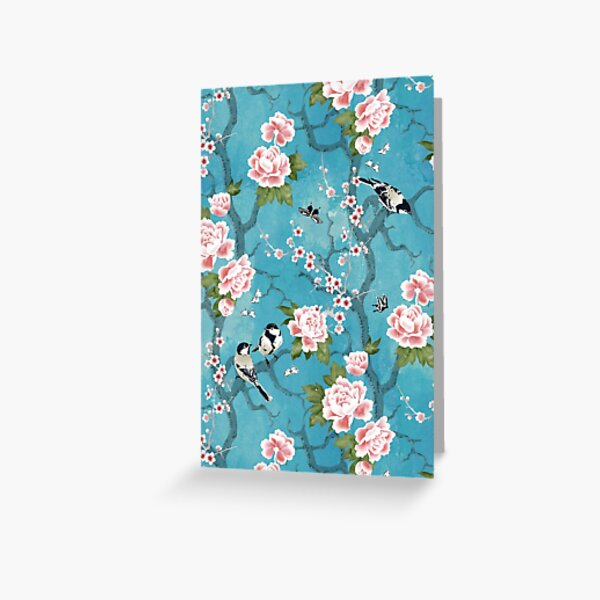 Chinoiserie birds in turquoise blue Greeting Card