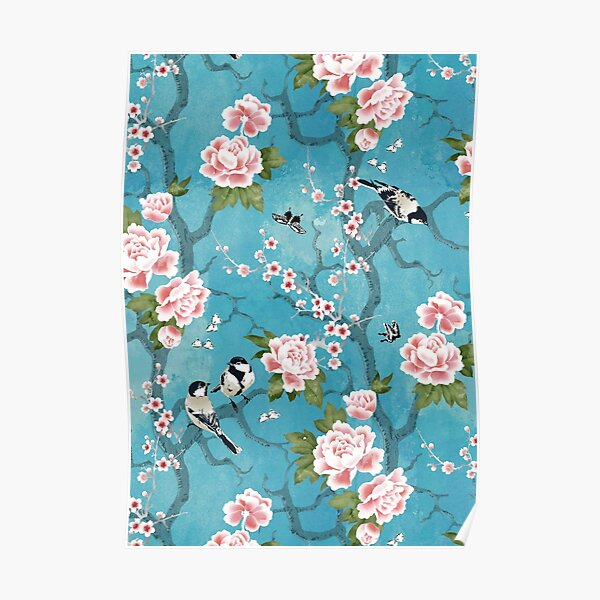 Chinoiserie birds in turquoise blue Poster