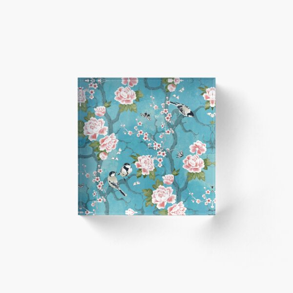 Chinoiserie birds in turquoise blue Acrylic Block