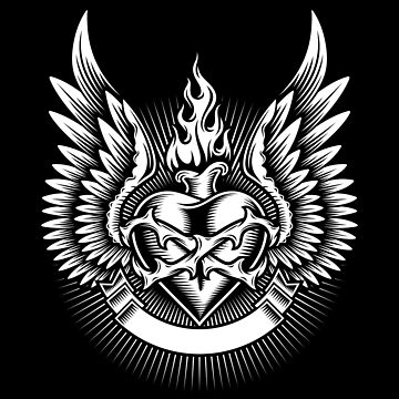 Burning Heart Winged And Thorns Ribbon by Skullz23