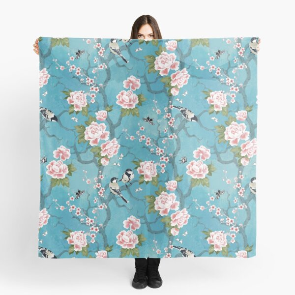 Chinoiserie birds in turquoise blue Scarf