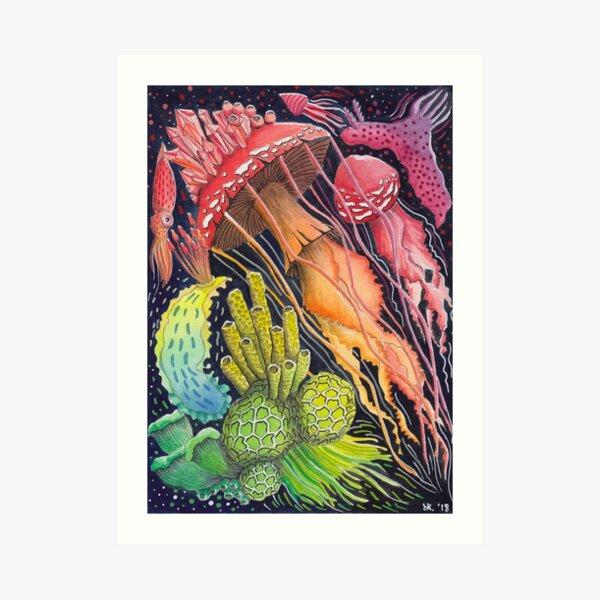 Mushroom Jellyfish - Rainbow Painting  Art Print