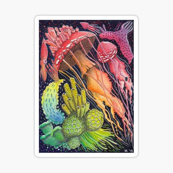 Mushroom Jellyfish - Rainbow Painting  Sticker