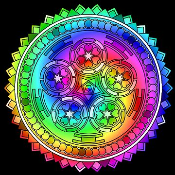Psychedelic Rainbow Mandala or Kaleidoscope in Sixties Hippie Flower Power Colors by FELSENSTEIN