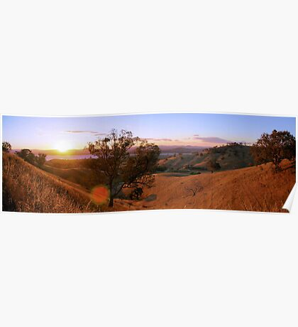 sunset over the hume weir,panorama Poster