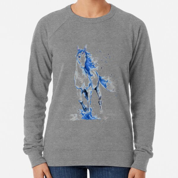 Blaues Aquarell Einhorn Leichter Pullover