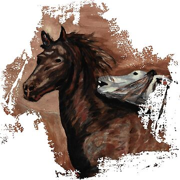Running Horses Watercolor Artwork by xsylx