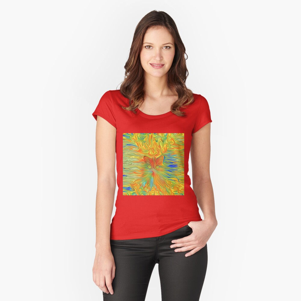 Abstract Butterfly Cat Fitted Scoop T-Shirt