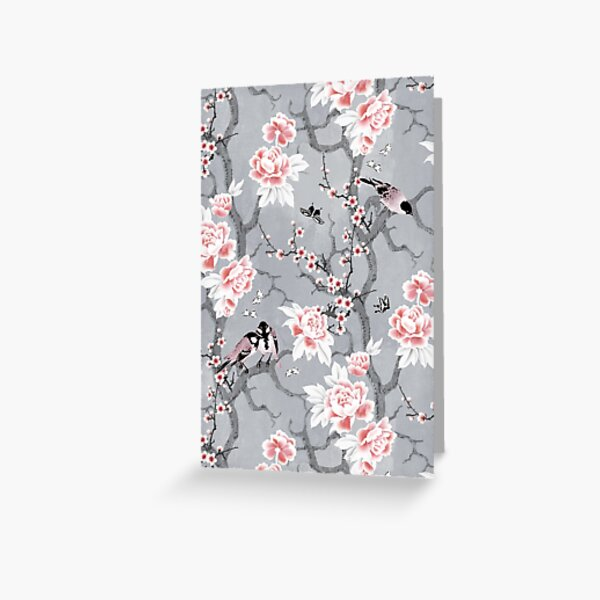 Chinoiserie birds in grey Greeting Card