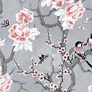 Chinoiserie birds in grey by adenaJ