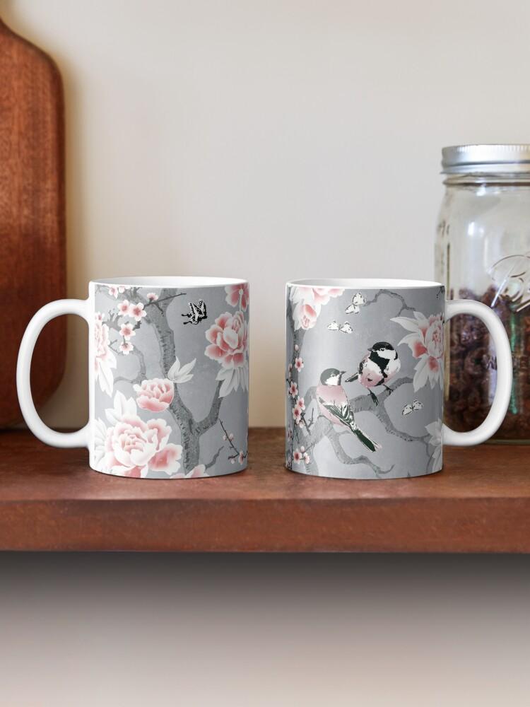 Alternate view of Chinoiserie birds in grey Mug