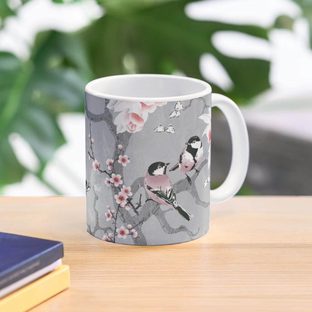 Chinoiserie birds in grey Mug