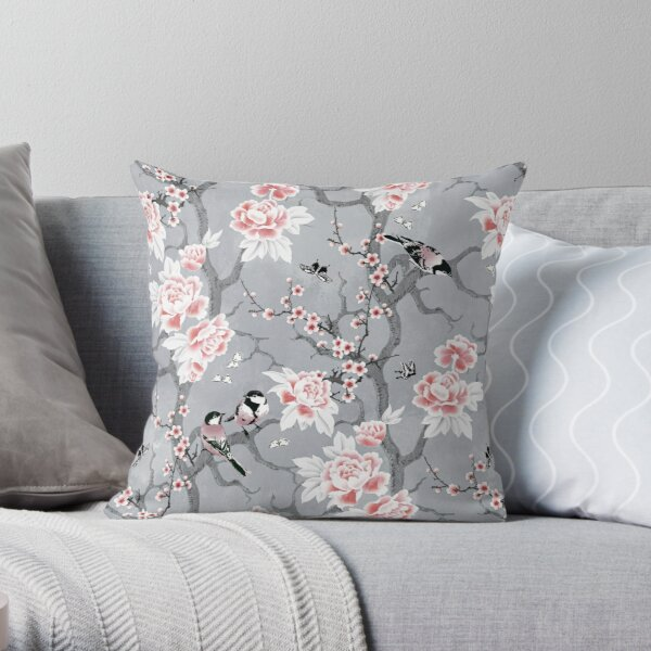 Chinoiserie birds in grey Throw Pillow