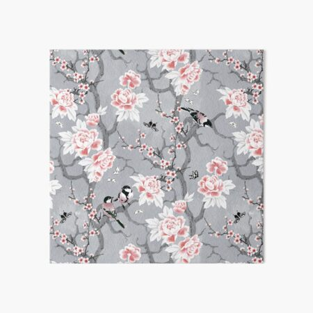 Chinoiserie birds in grey Art Board Print