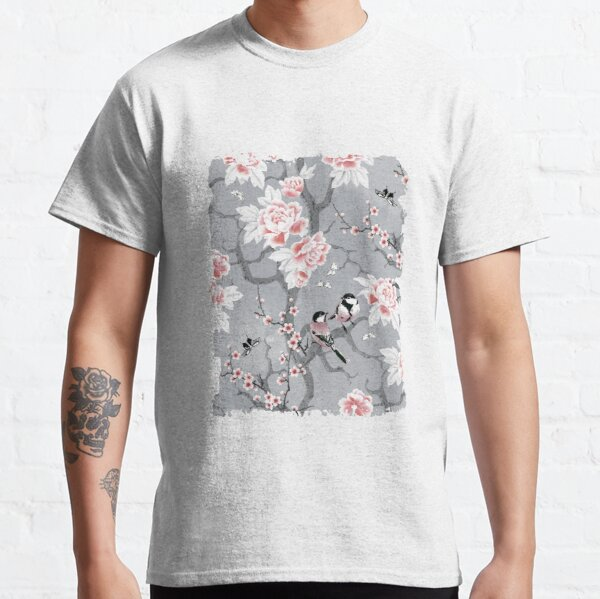 Chinoiserie-Vögel in Grau Classic T-Shirt